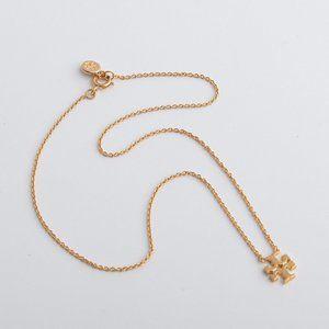 Tory Burch Vintage Gold Simple Logo Short Necklace